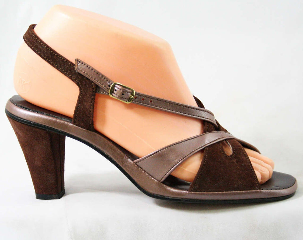 Deco Style 70s Sandals - Size 6 1/2 M - Metallic Brown & Cocoa Suede 1970s Shoes - Deadstock - Peep Toe - Slingback - Hush Puppies - 43220-3