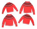 Set of 4 1960s Ski Sweaters - Sizes 10, 12, 18 & 20 - Four Kids Photo Opportunity - Christmas Card Pullovers - Vivid Red Mod Fair Isle Knit