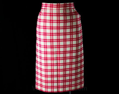 Size 8 Ted Lapidus Skirt - Fuchsia Pink & Ivory White Wool Plaid - Paris Diffusion Label - Made in France - 1980s Chic Designer Office Wear