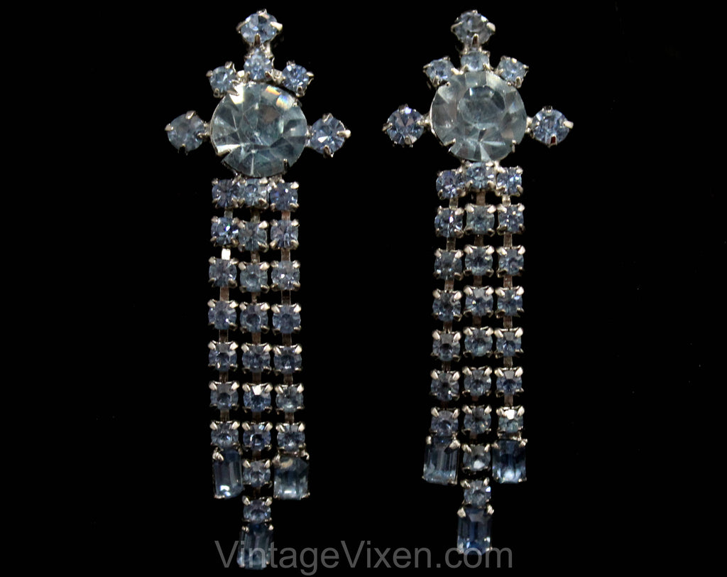 50s Blue Rhinestone Earrings - 1950s Glamour Girl Clip Earring - Bombshell Sexy - Dangling Tassels - Evening Formal Pageant Jewelry - 50538