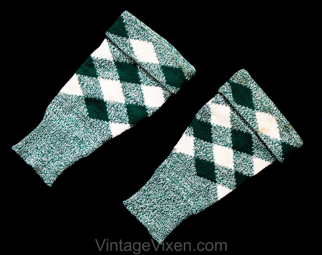 1950s Arm Warmers - Emerald Green & White Wool Argyle Plaid Sleeve Gauntlets - Like Gloves Without Hands - Hand Knitted Authentic 50s Cuffs