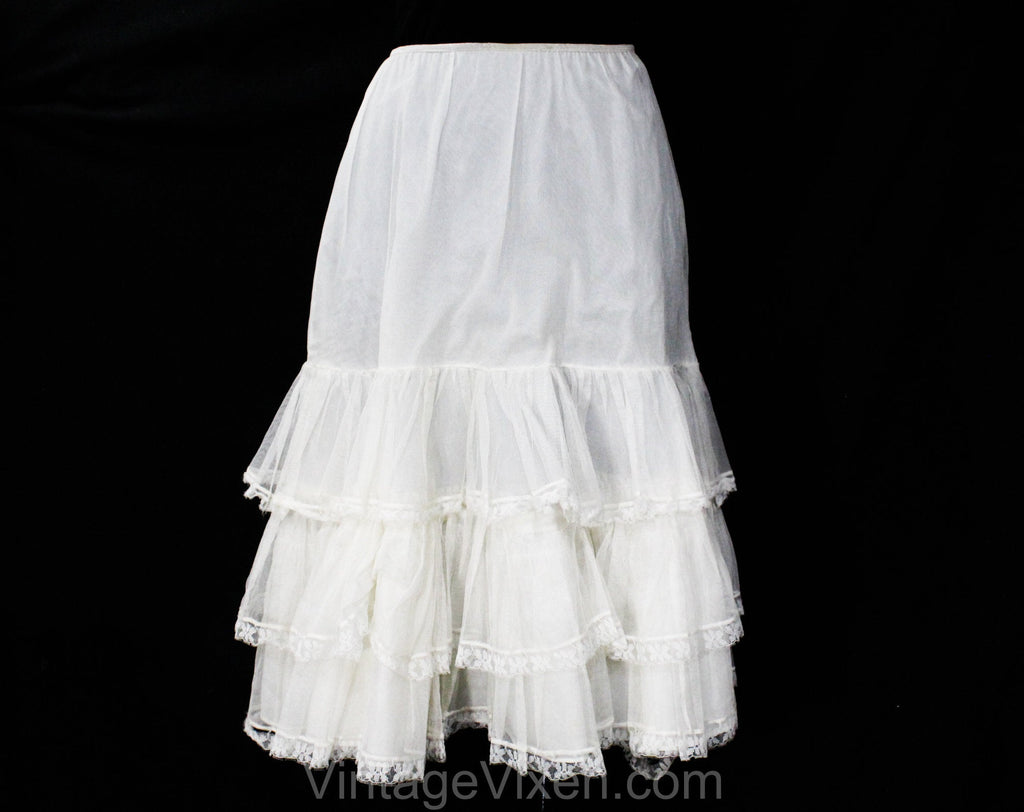 1950s White Petticoat with Sheer Net Flounces - Size 6 to 10 Crinoline - Small Medium CanCan 50s Full Skirt Lingerie Pin-Up - Waist 20 to 28