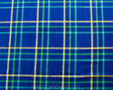Blue Plaid Tablecloth - Heavy High Quality Blue Chartreuse Green Large Rectangle - Retro 1980s Summer Table Cloth - Large Lattice Stripe