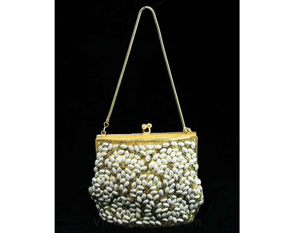 Glamour Girl 50s Purse - Bee Hive Shaped Beads - Metal Beadwork - Scallops - Hand Beaded - 1950s Formal Gold Handbag - Evening Glam - 42715