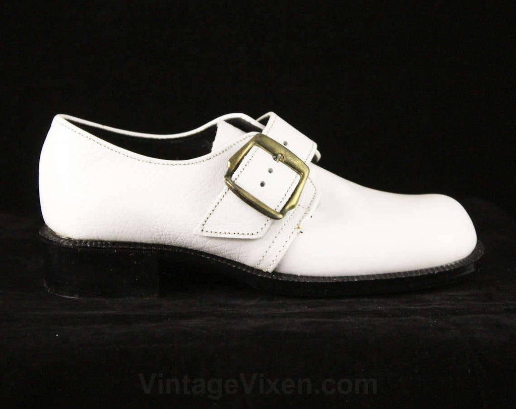 Child's Size 12 White Shoes - Funky Motown Style Leather Shoes - 60s 70s Boys Girls Children's Deadstock - Round Toe & Big Buckles - 48059-1