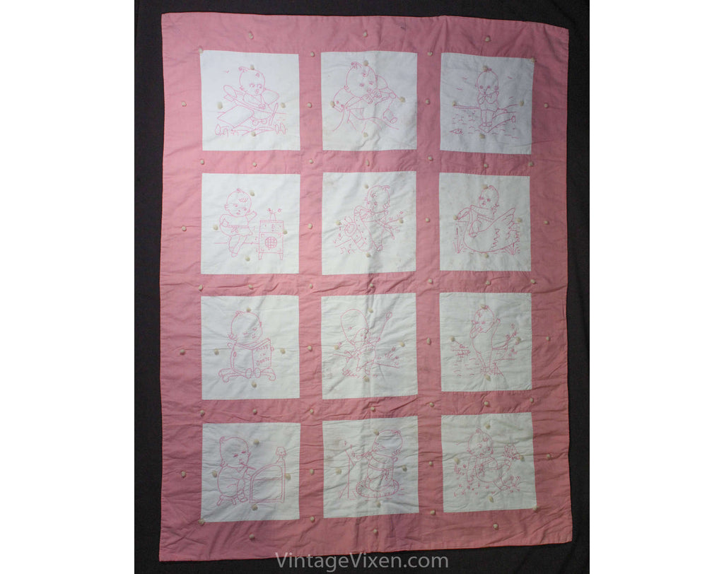 As Is Pink 1940s Childs Quilt - Hand-Sewn & Hand-Embroidered Baby Coverlet - Adorable Kewpie Embroidered Scenes - Large Size 33 x 43 Inches