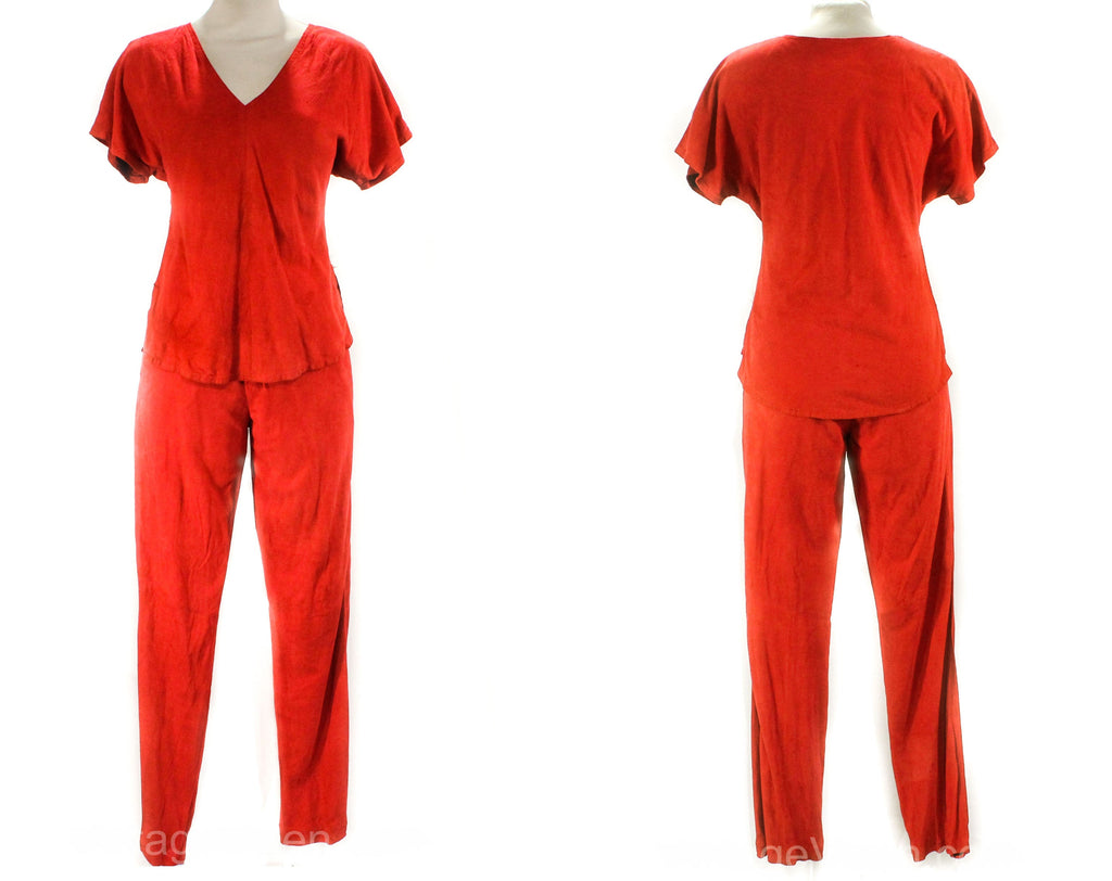 Size 0 1980s Red Suede Outfit - Sexy Erez Two-Piece Pantsuit - Late 70s 80s Short Sleeve Top & Skinny Pant - XXS Disco Club Wear - Waist 23