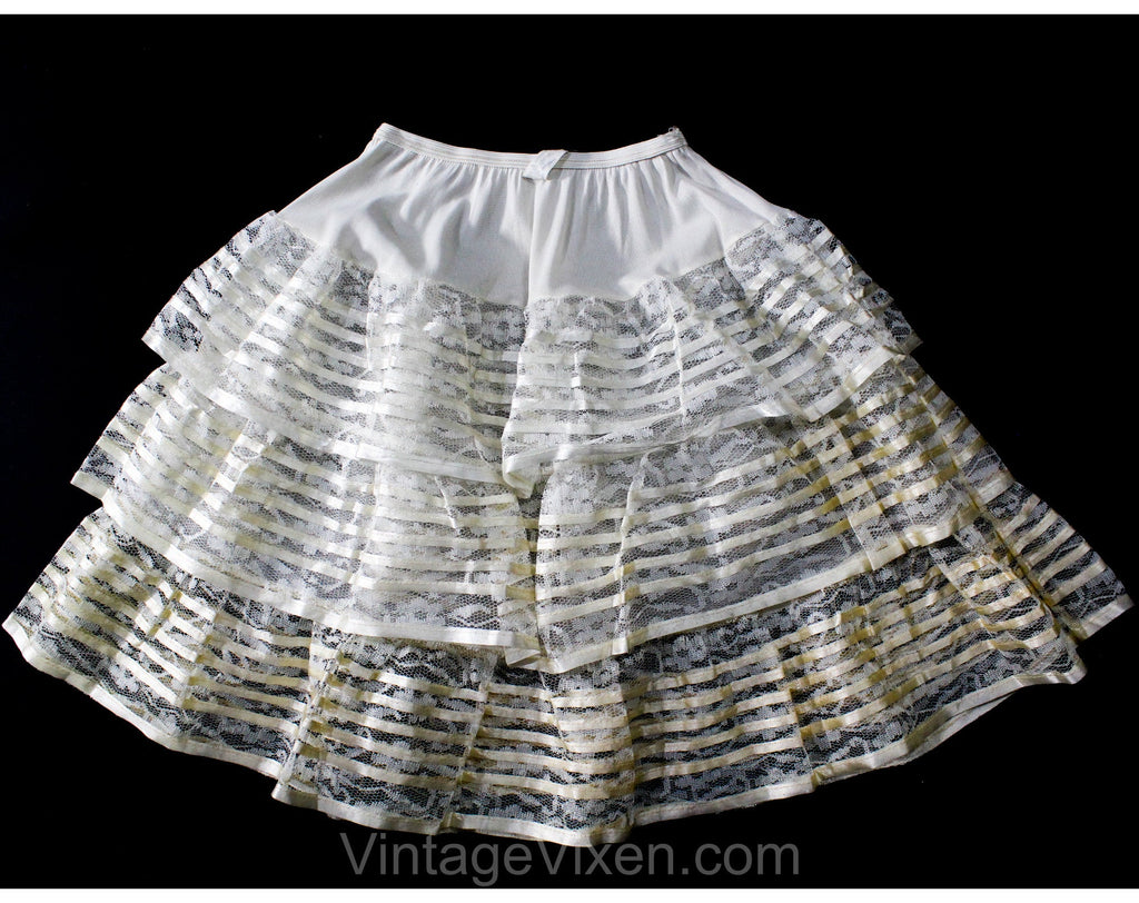 Girl's Size 10 Crinoline Slip - 1950s Girls Fancy White Petticoat - Child Size 50s Nylon Lace & Satin - Full Skirt Ruffles - NOS Deadstock