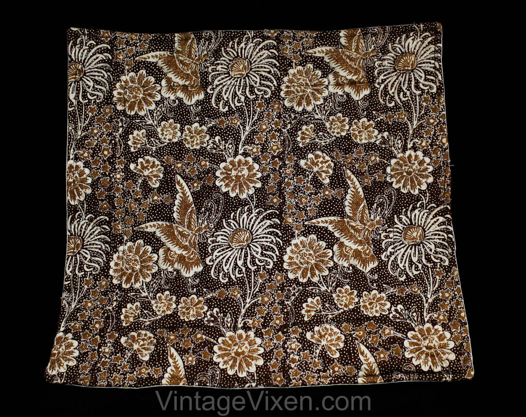 FINAL SALE Indonesian Cotton Textile - Butterfly Novelty Print Batik - Asian 1980s Square Dresser Accent - Brown Tiki Floral 80s Trapunto