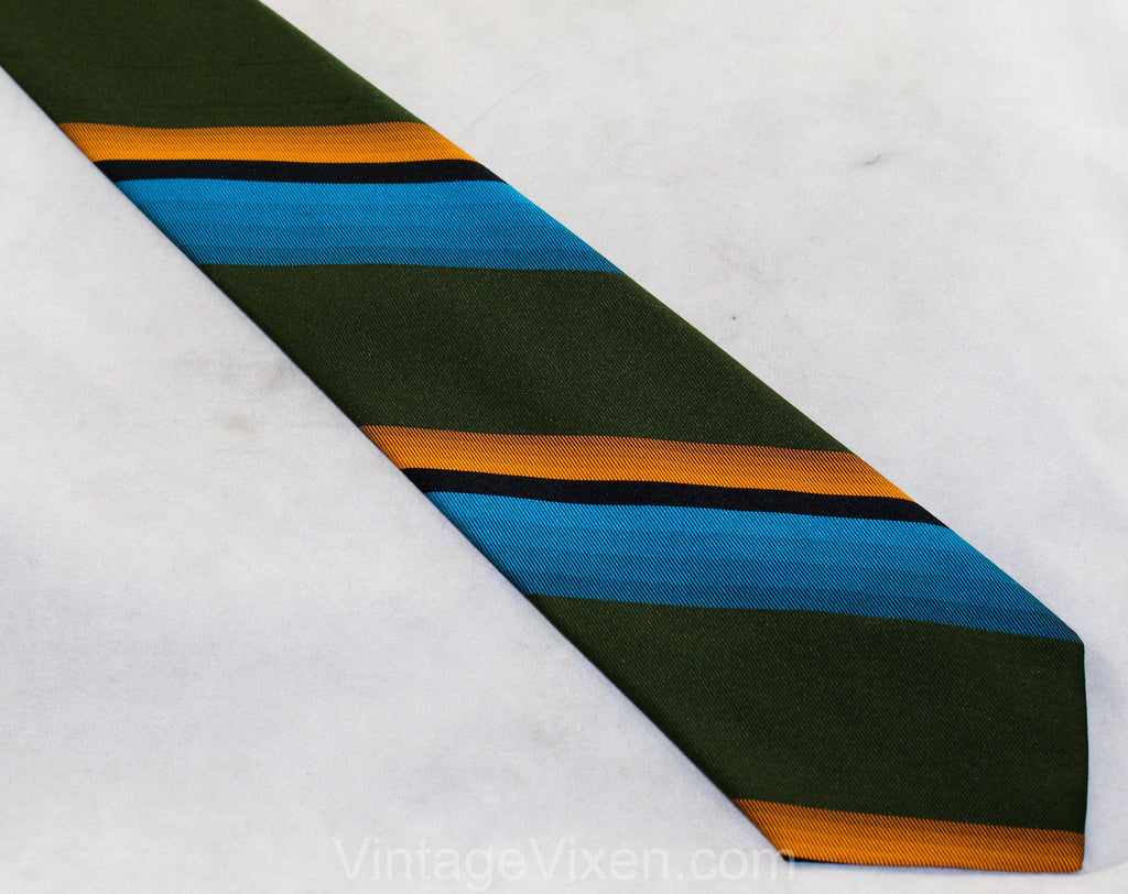 Men's Late 1960s Tie - Striped Orange Green Turquoise Tie - Bright & Bold Diagonal Stripes - Early 1970s Hipster Office Vibe - Uber Cool