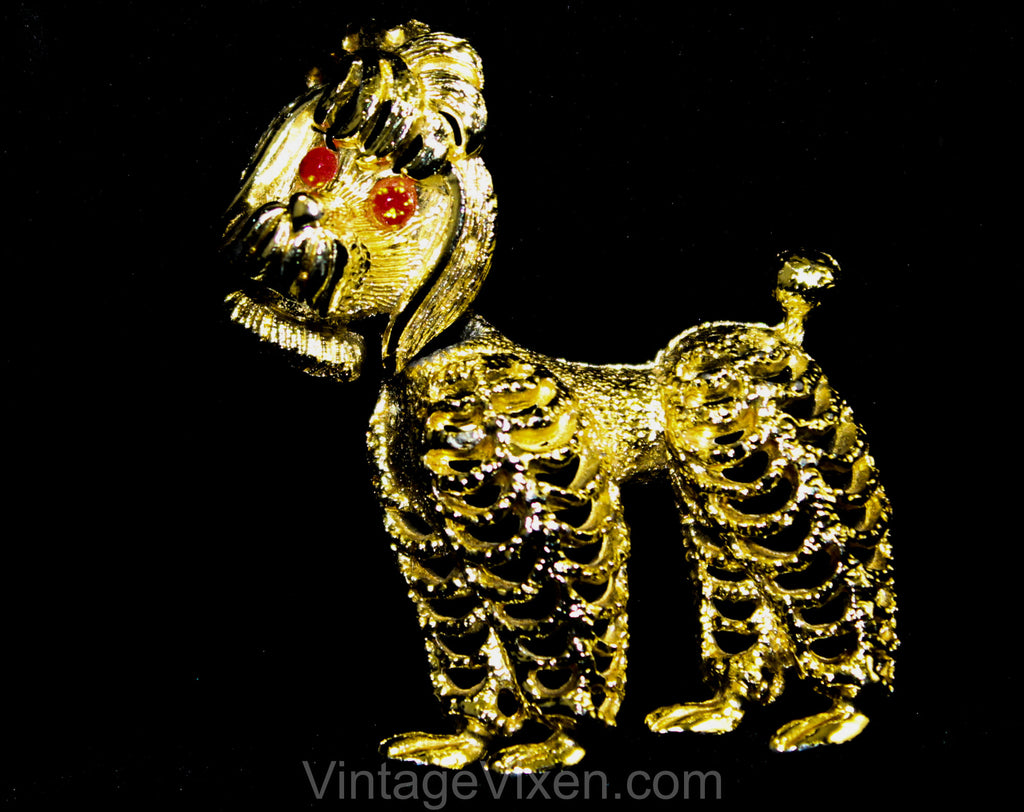 Nodding Poodle 1950s Brooch - Cute Gold Hued Frou Frou Dog - Kitsch 50s 60s Nodder Trembler - Canine Novelty Pin - Orange Rhinestone Eyes