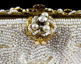 French Evening Bag - White Beaded Formal Purse with Pastel Enamel Flowers - 40s 50s Handbag - Crescent Beading - Chain Strap - Made in Paris