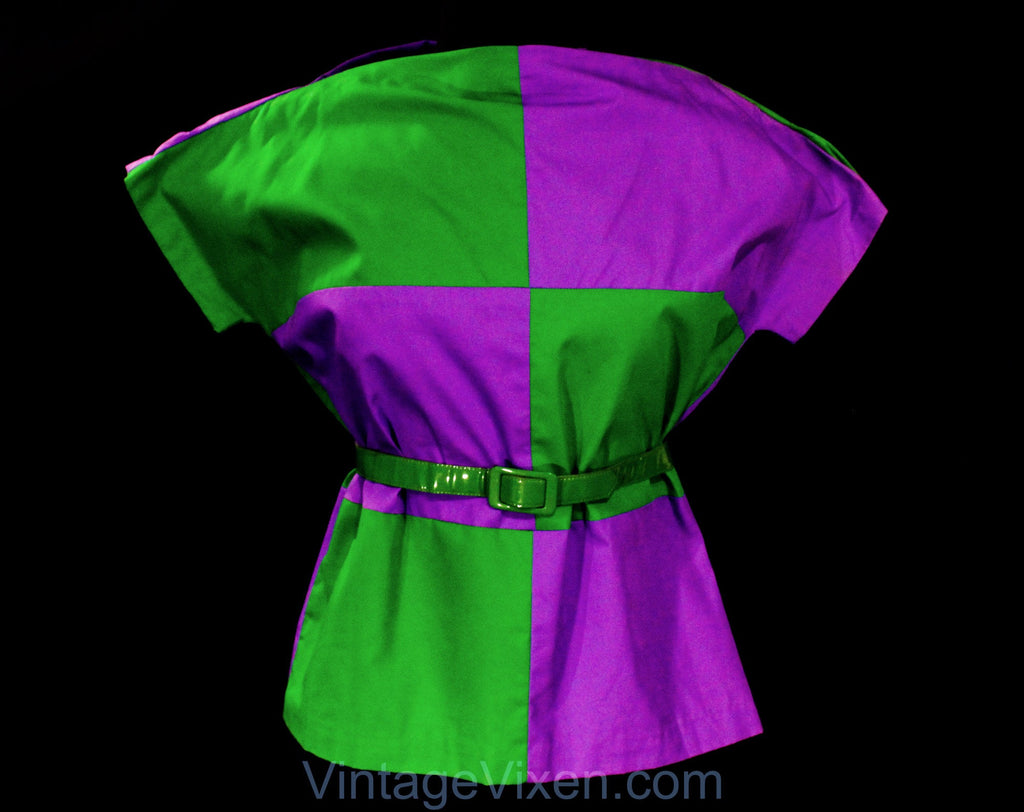 Large 1960s Cotton Shirt - Kelly Green & Purple Color Block Canvas Top - Size 12 Parti-Color 60s Court Jester Style Tunic and Belt - Bust 42