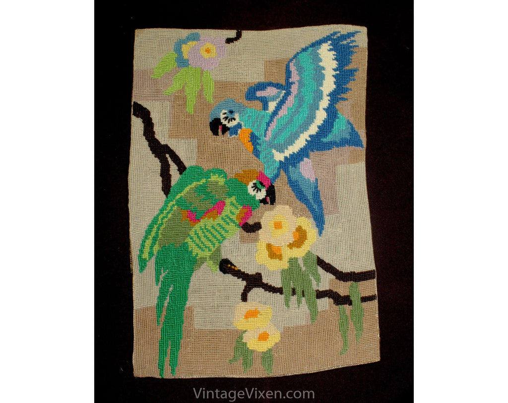 Needlepoint Fabric - Macaw Tropical Birds in Jungle Needle Point - Blue Green Pink 1970s 1980s Wool Yarn - Rectangular - 9.75 x 14.25 Inches