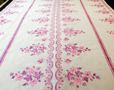 "1960s Kitchen Curtain Fabric - Pink & Purple Leaves - 2 Yards x 44.5"" Wide - 60s Sheer White Nylon 1960s Housewife Yardage - Scallop Border"