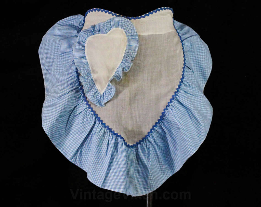 1940s Gingham Apron with Sheer Heart Shapes - Small Size 40s Half Apron - 40's Sweetheart Housewife Blue & White Cotton - Rick Rack