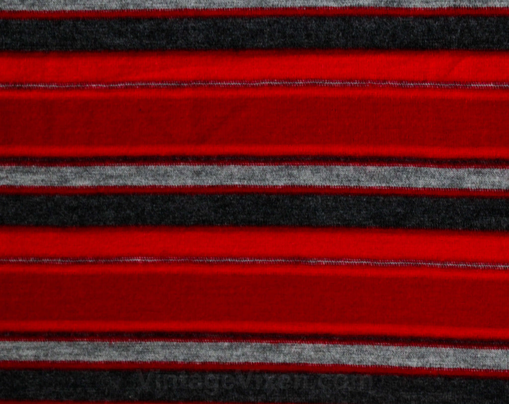 50s 60s Red Striped Jersey Knit - 1.66 Yards x 34.5 Inches Wide - Cute 1950s Scarlet & Gray Stripes - For Blouses Tops Sexy Sweater Girl