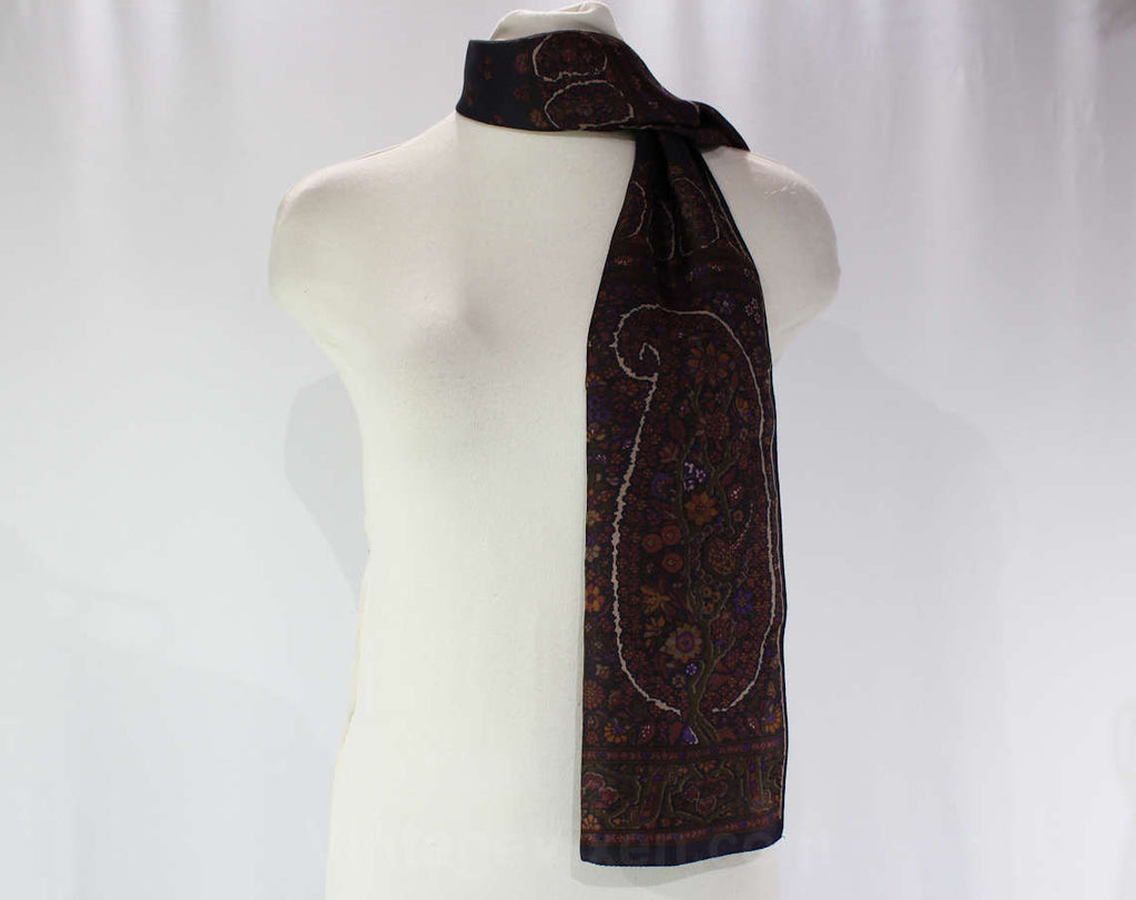 Liberty of London Silk Scarf - Brown Paisley Neck Scarf - Made in England - 1960s Paisleys Border Print - Umber Black Purple - Rectangular