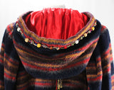 Large Boho Peasant Coat with Hood - Russian Style Navy Blue & Red Wool Huge Sleeves - Wooden Beads - Haute Designer Dan DeSantis - Bust 54