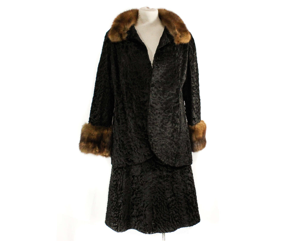 Size 10 1950s Fur Jacket and Skirt - Sable Collar & Cuffs - Black Broadtail Lamb - Medium 50s 60s Custom Made Winter Suit - Waist 29.5