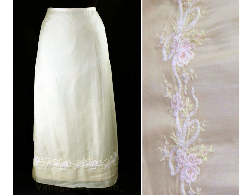 Size 10 Antique Silk Skirt - Wonderful Ivory Chiffon with Embroidered Flowers & Bows At Border Hem - 1900s Edwardian or 1800s Victorian