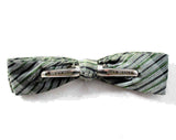 1950s Men's Bow Tie - Classic Green Gray & Black Mens 50s Striped Bowtie - Diagonal Striped Mid Century Clip On Skinny Tie