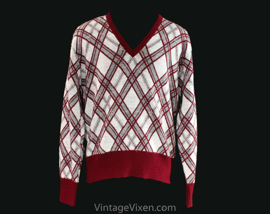 Men's Medium 60s Sweater - Maroon & Gray Plaid Knit - Mod Mens Fall Winter Pullover by Izod - V Neck 1960s Preppie Long Sleeve - Chest 42