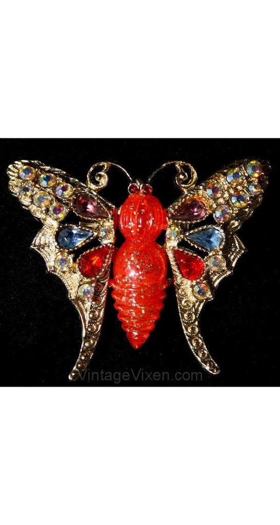 Gorgeous 1950s Red Confetti & Rhinestone Butterfly Pin - Bejeweled 50s Fancy Insect Brooch - Scarlet and Blue - Mint Condition - 36396-1