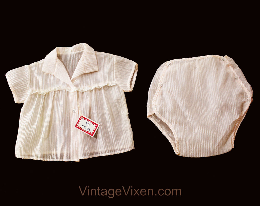 1950s Baby Girl's Pink Shirt & Short - Size 6 Months - 40s 50s Seersucker Summer Infants Outfit - Waterproof Diaper Cover - Deadstock