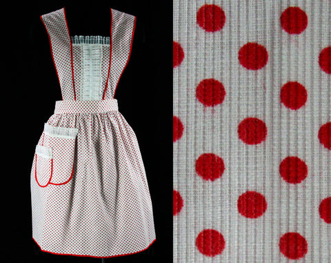 Small 1950s Red Polka Dot Apron - Size 0 to 6 50s House Wife Accessories - Iconic Lucy Hostess Full Apron - Unworn Mint Condition Deadstock