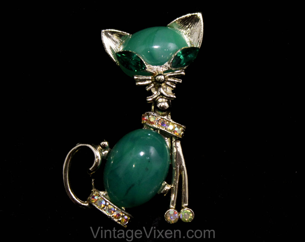 1960s Cool Cat Brooch - Emerald Green & Gold with Rhinestones - 50s 60s Cateye Mid Century Novelty Animal Pin - Sassy Little Pussycat