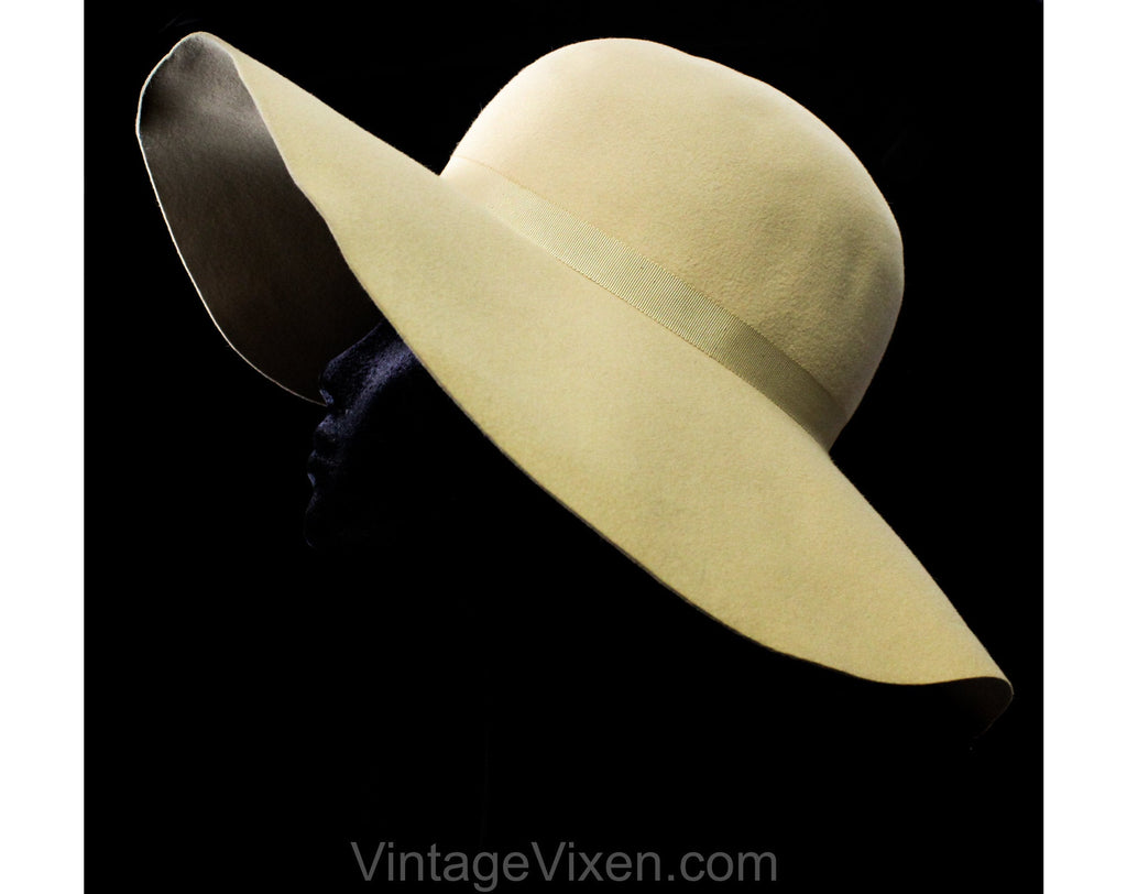 Neutral Felt Hat - Taupe Wool Wide Brim 1970s Millinery from Saks 5th Avenue - Spring Fall - Floppy Slouch Brim - Sophisticated 70s Chic