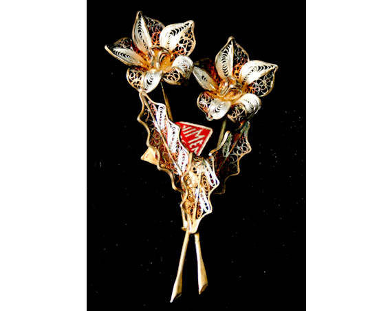 Italian Gold & Silver Filigree Lilies Pin - Pretty Italian 1950s Brooch - Firenze - Flowers - Made in Italy - 40s 50s Deadstock - 40128