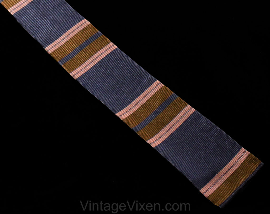 1960s Square End Tie - Mens 60s Preppy Striped Silk Necktie - Gray Pink Brown Men's Spring Fall Neckwear by Alexander Shields NY Palm Beach