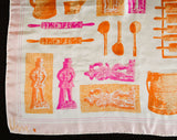Old World Artifacts Scarf - Pink Orange White Silk - 1960s Novelty Print by Vera Neumann - Baking Implements & Chocolate Molds - 26 Inches