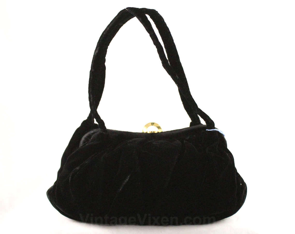 1940s Black Velvet Handbag - Formal Purse - 40's 50's Accessories - Winter Classic Bag Two Handles - 1950s Small Purse with Brass Deco Clasp