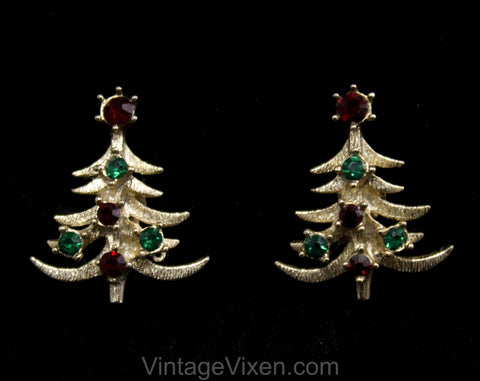Cute 1950s Christmas Tree Earrings - Winter Red & Green Rhinestones Metal Clip Earring - Festive Holiday Jewelry - Gold Hue Metal - 50537