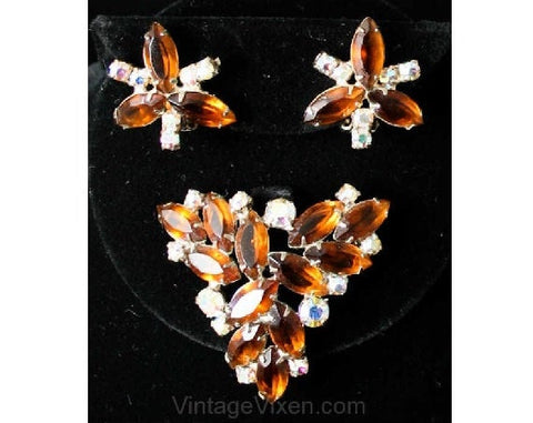 Vintage 1960s Brown Rhinestone Pin & Earrings - Fall Autumn 1960s Lovely Quality Jewelry Set - Excellent Condition - Root Beer Demi Parure