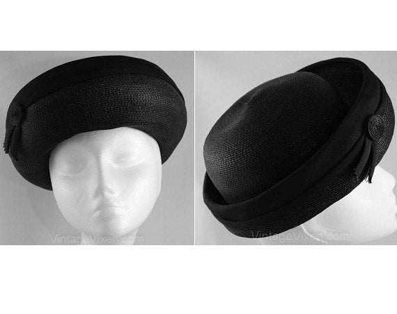 Chic 60s Black Straw Breton Hat with Spiral Accent - Sailor Inspired Cloche Style - Sophisticated - 1960s - Upturned Brim - Chic - 35931