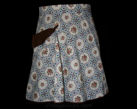 Charming 1940s Blue & Brown Floral Apron - Apron - Half Apron - Size 10 to 14 - Fall - Excellent Condition - Waist 28 to 32 - 30455-1