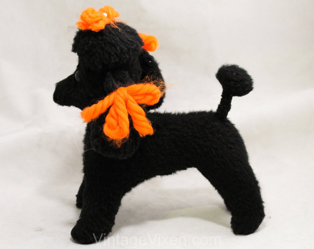 1950s Poodle Stuffed Animal - Black French Poodle Dog Toy - 50s 60s Cute Classic Mid Century Kitsch - Orange Yarn Ribbons - Fifi Stuffie