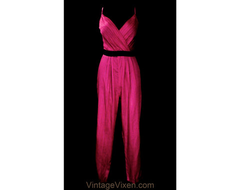 Size 8 Sexy Raspberry Pant Outfit - 1980s Pinstriped Rayon Summer Jumpsuit - Teal Navy Blue Pink Striped Decollete Romper - NWT Deadstock