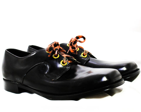 Size 9 Men's Dress Shoes - Funky 1960s 70s Black Mens Oxfords with Orange Shoe Laces - Never Worn In Original Box - 60s NOS Deadstock