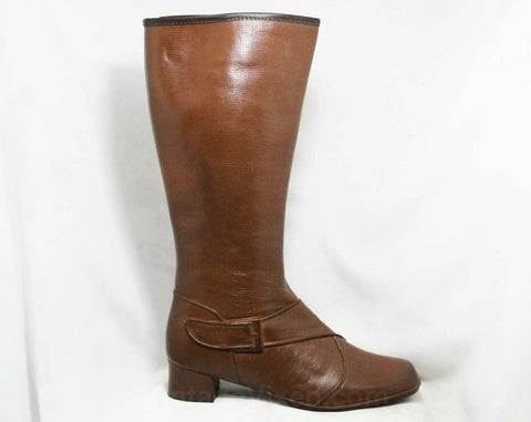 Size 9 Trompe L'Oeil 60s Boots - Brown Waterproof Rubber - 1960s Winter Boot - Faux Buckle & Strap - Fleece Lined - Deadstock Tall Shoes