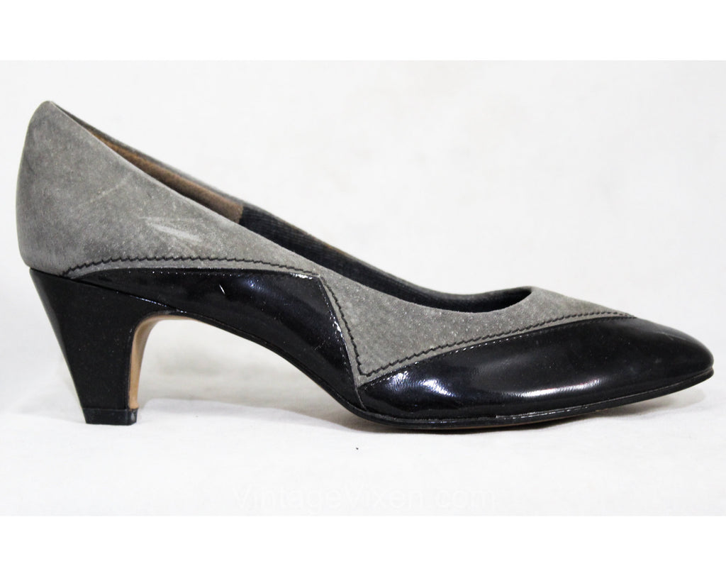 30s Style Shoes - Size 6 1/2 M - Gray Suede & Black Patent Leather 1970s Shoes - Sexy Grey 70s 80s Heels - Hush Puppies NOS Deadstock 6.5