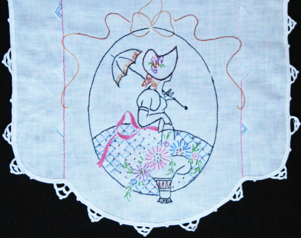 1940s Table Runner - Sweet Bonnet Girl with Umbrella & Bride's Basket - Quaint Hand Embroidery - Girlish 40s Embroidered Dresser Runner