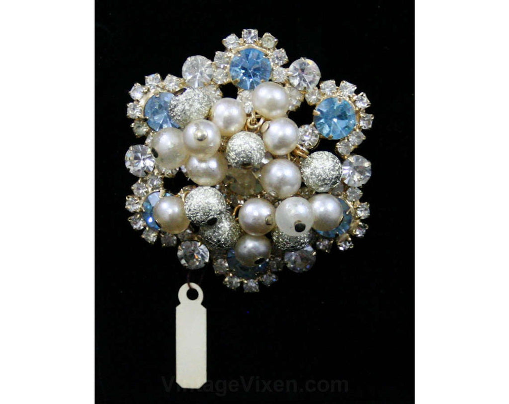 1950s Juliana Brooch - Cinderella Blue - Crystal Clear Rhinestones - Bauble Beads - 50s 60s Delizza & Elster - NOS Jewelry Deadstock - 42517