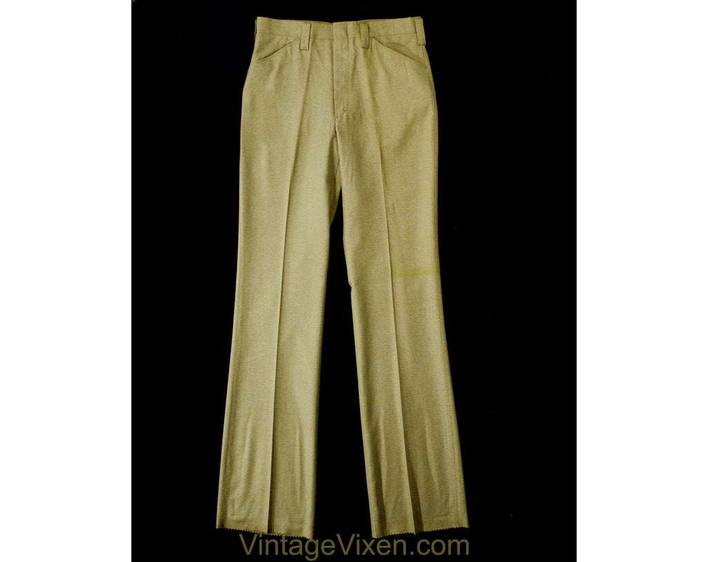 Men's Small 60s Pants - Mod Late 1960s Khaki Brown Tailored Pant - Boot Cut Flare Trouser - Handsome Deadstock - Waist 30 - Inseam 36