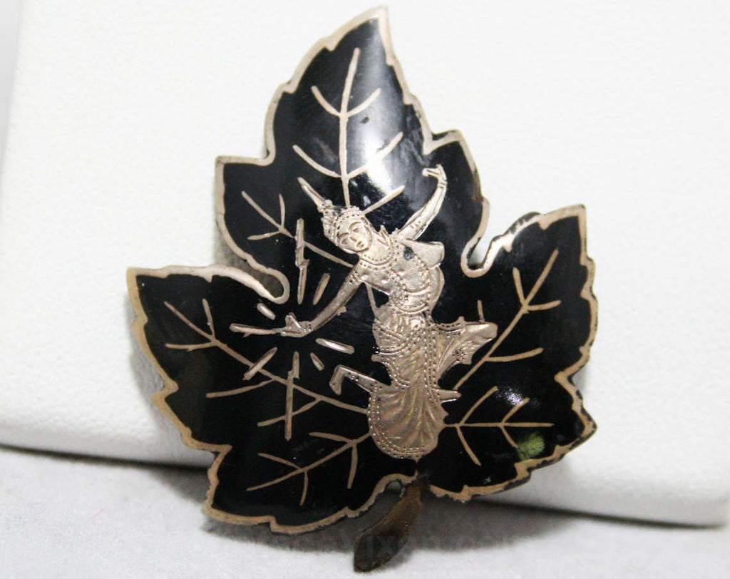 1940s Thai Niello Leaf Pin - Siamese Dancer - Sterling Silver 40s Brooch - Black Enamel - Asian - Eastern - Exotic - WWII Era - 44393