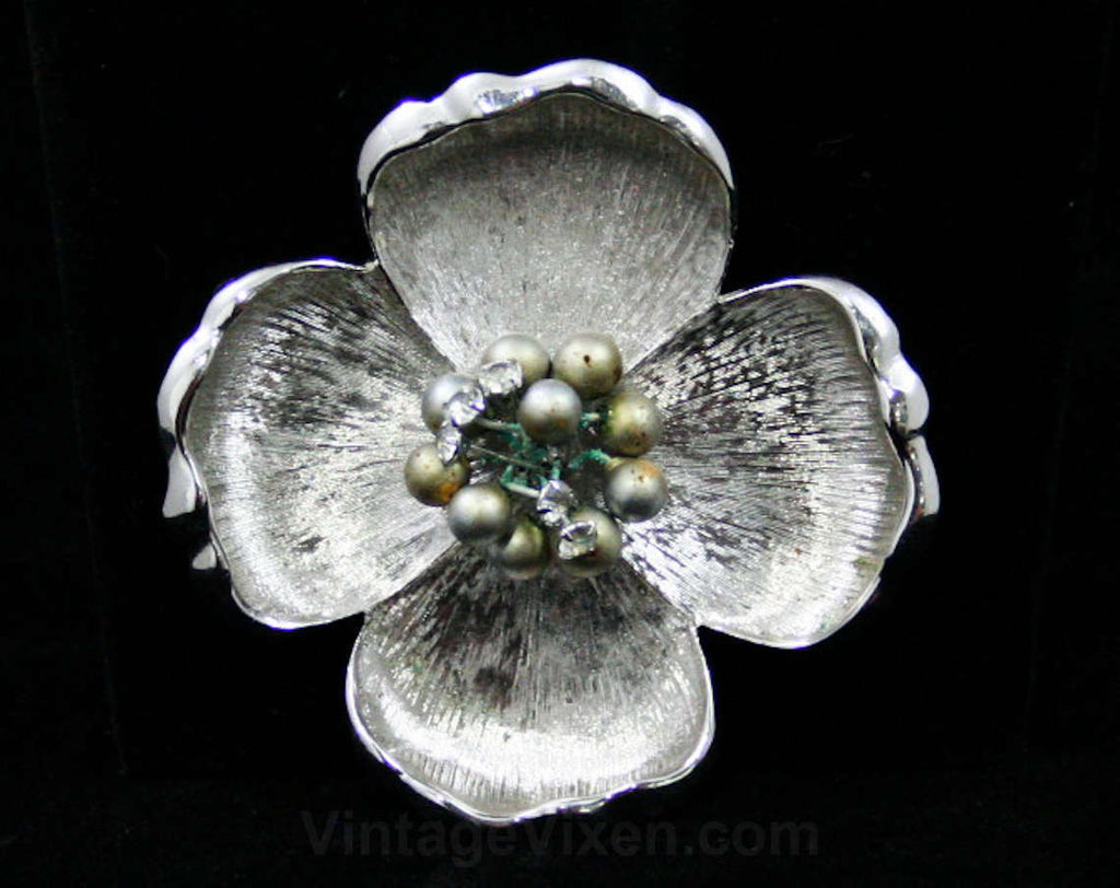 Bold Silver Flower Pin - 1960s - Poppy - Floral Brooch - Silvertone Metal - Rhinestone Stamens - Four Petals - Faux Pearls - 42489